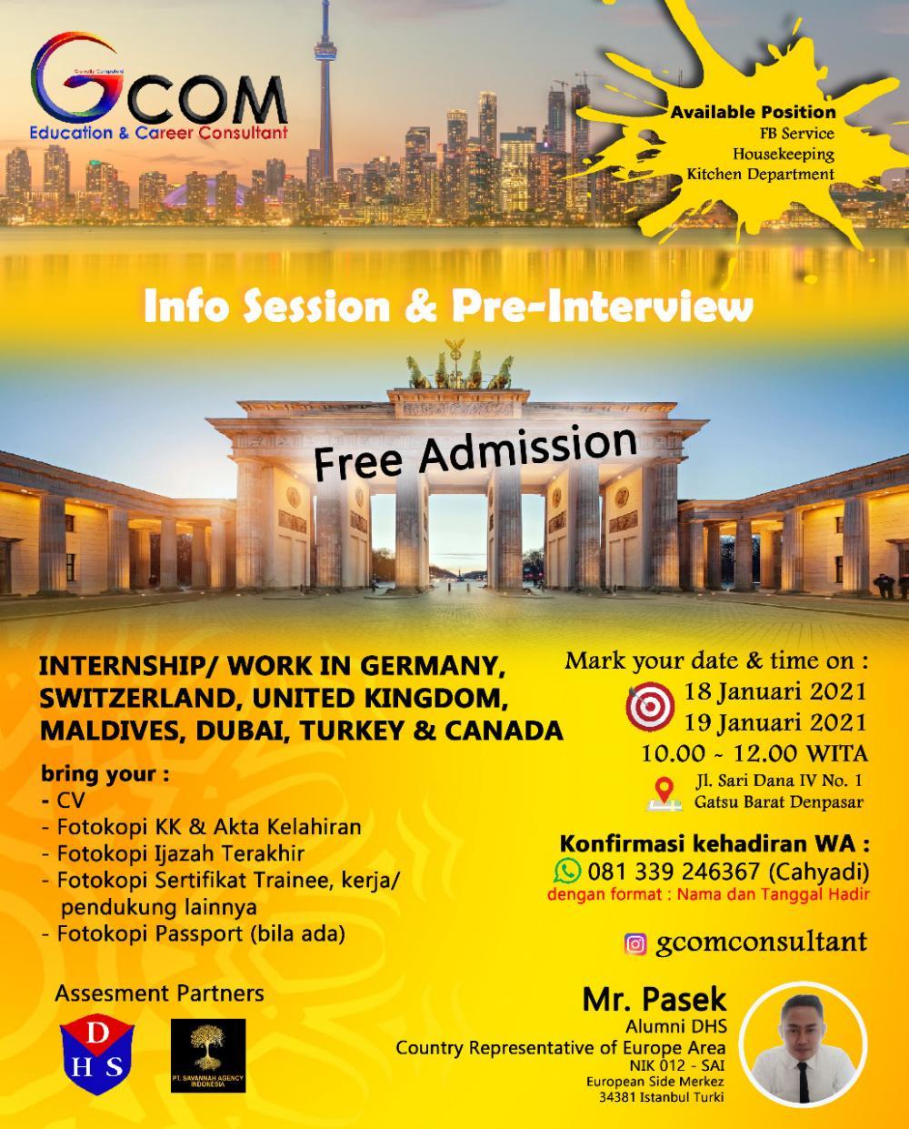 Sponsorship - Gcom Internship Program di Eropa and Kanada